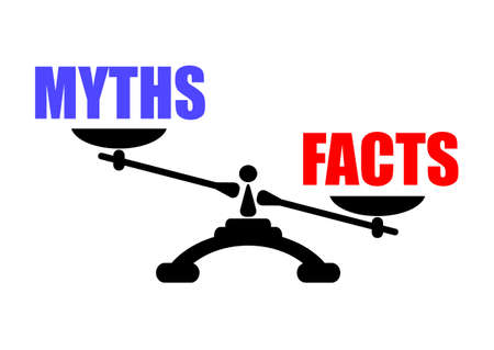 balance scale: Mitos vs hechos icono Vectores