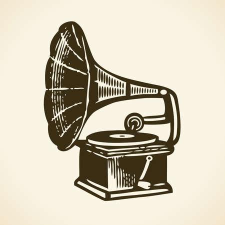 Old retro gramophone Vector