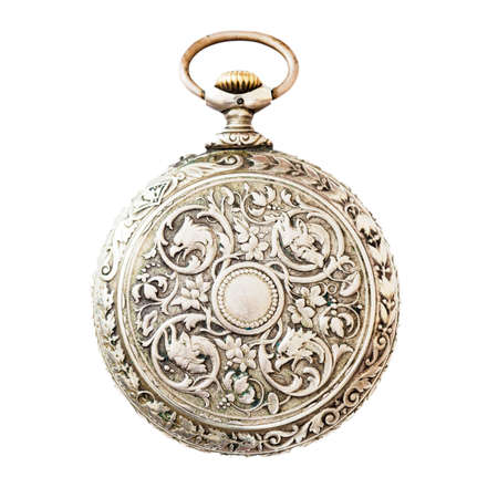 Ancient pocket watch isolated on white background photo