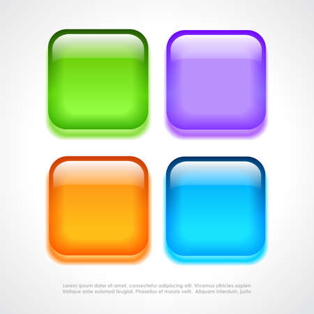 Square glass buttons Vector