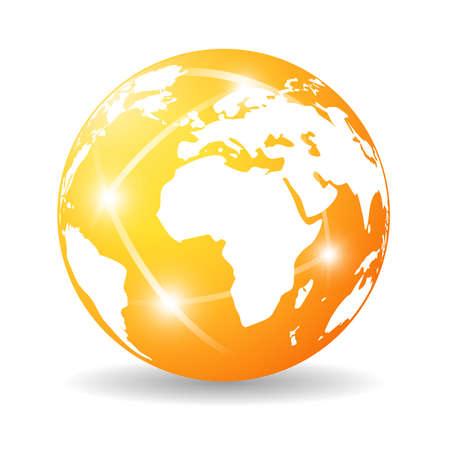 Glossy earth icon Vector