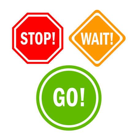 Arrêtez de patienter aller signes Banque d'images - 28904871