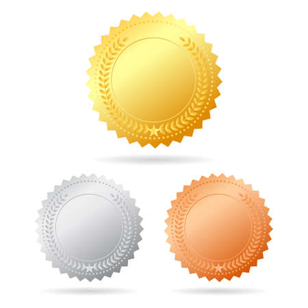 gold silver bronze: Blank vector medals Illustration