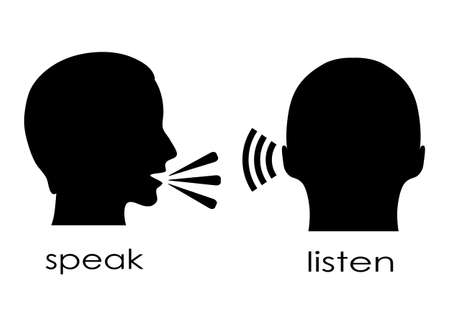 listening to people: Speak and listen symbol