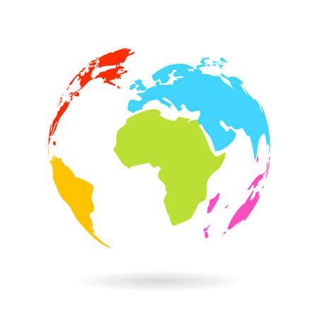 Multicolor icône de globe Banque d'images - 29840094