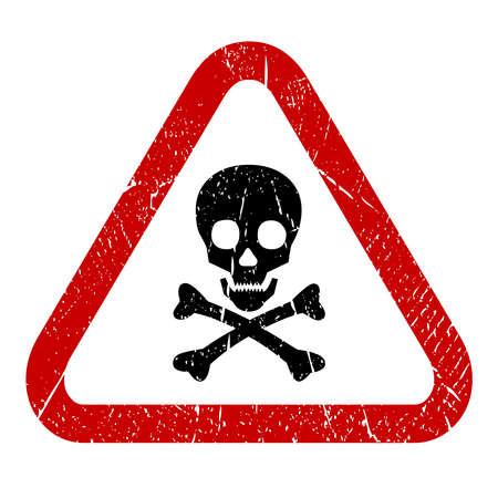 triangular warning sign: Danger skull icon