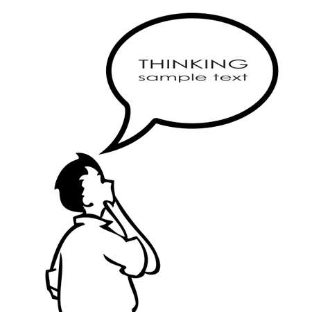 Thinking person with thought bubble Vector