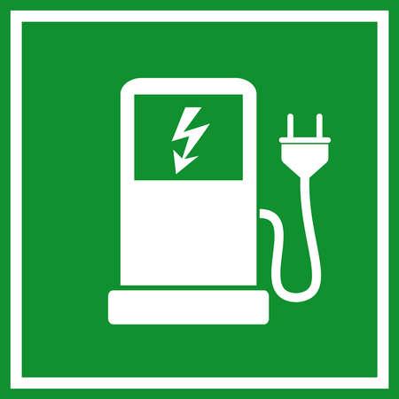 fuelling station: Coche eléctrico signo estación de carga Vectores