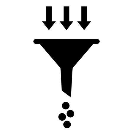 filtering: Filtering funnel icon Illustration