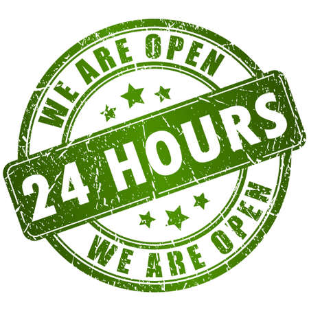 shop opening hours: Open 24 hours stamp