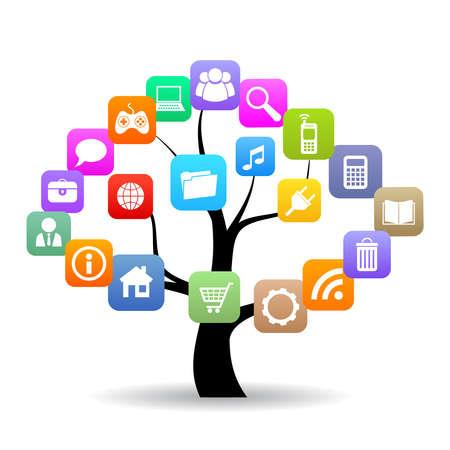 icono web: �rbol de medios sociales