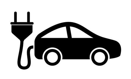 plug in: Electric car icon Illustration