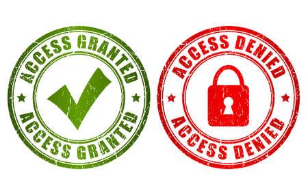 denied: Acceso concedido sello negado Vectores