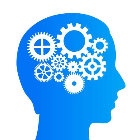 person thinking: Pensando cerebro con los engranajes Vectores