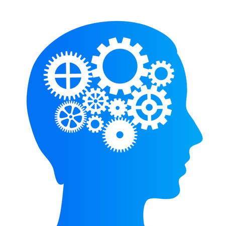 thinking icon: Thinking brain with gears Illustration