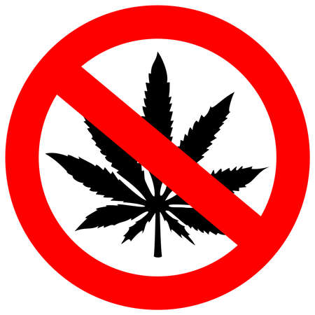 ban: No marijuana sign Illustration