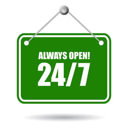 4 door: Always open sign Illustration