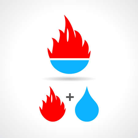 hot and cold: Water and fire icon