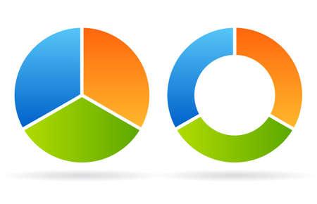 Three part round diagram  イラスト・ベクター素材