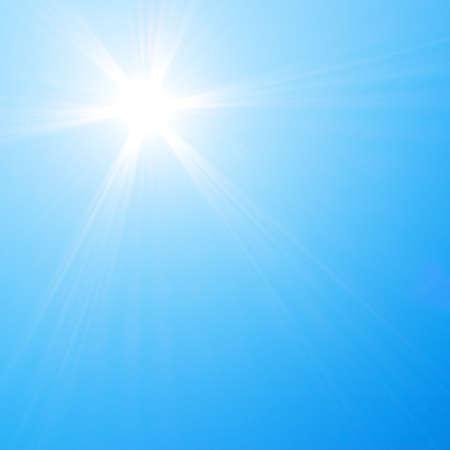 cielo azul: Sol brillando en el cielo azul