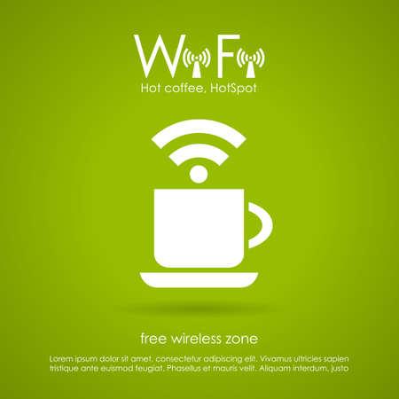 internet cafe: Icono de caf� Wi-fi