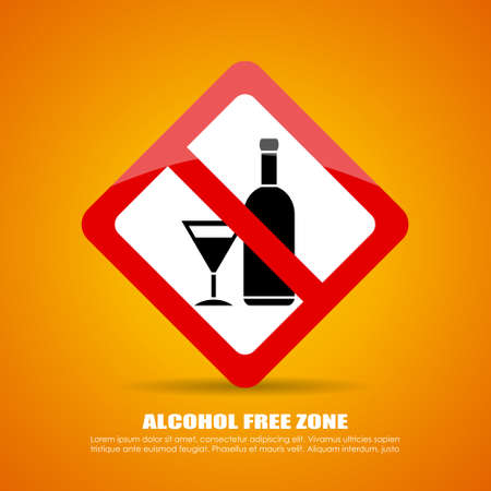 no alcohol: Alcohol free zone sign Illustration