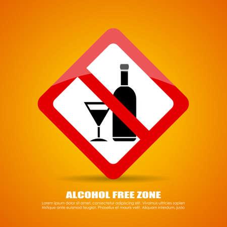 Alcohol free zone sign Illustration