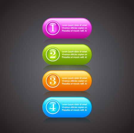 Numbered option buttons Vector