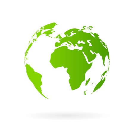 multinational: Green planet icon Illustration