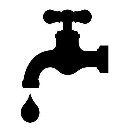 running off: Water tap icon Illustration