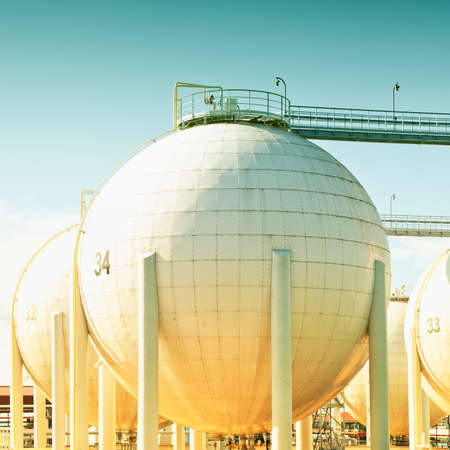 industry park: Spherecal oil tank,toned image