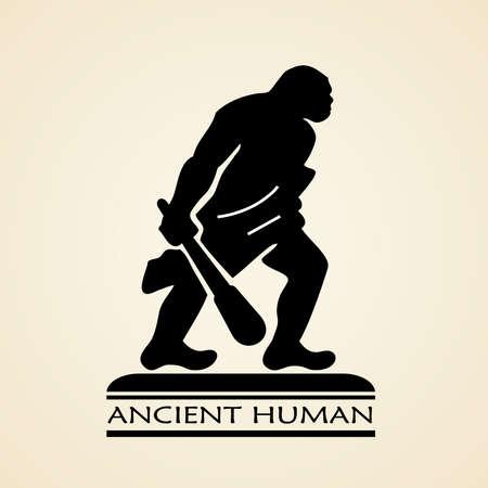caveman: Humano icono antiguo Vectores