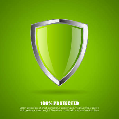 internet protection: Shield protection icon Illustration