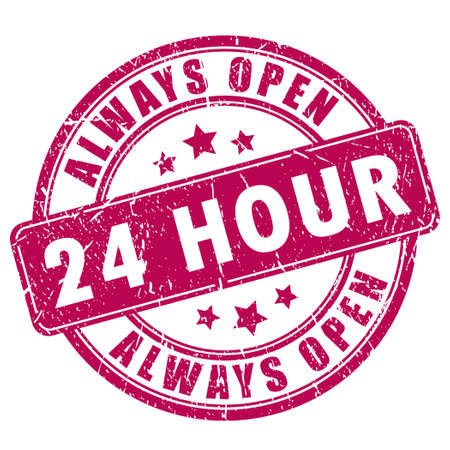shop opening hours: 24 open stamp