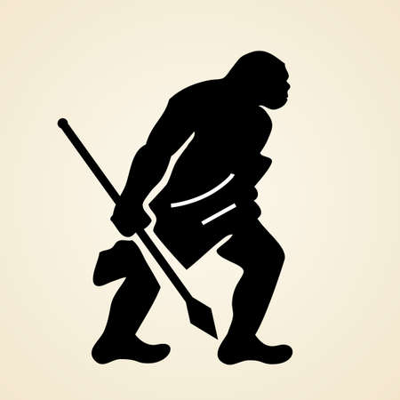 troglodyte: Cave man with spear Illustration
