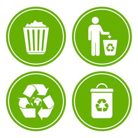 botar basura: Icono de basura de reciclaje Vectores