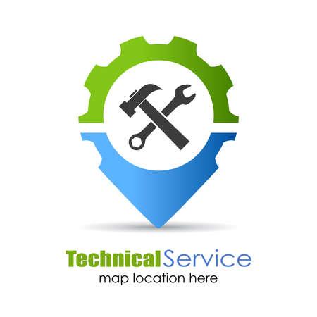 herramientas de trabajo: Servicio t�cnico pin ubicaci�n Vectores