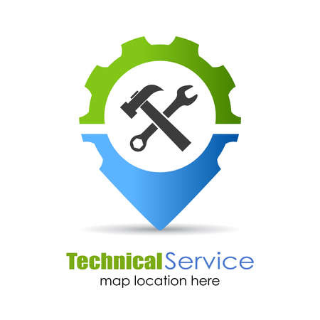 construction logo: Technical service location pin