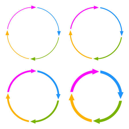 flecha: Cuatro segmentos flecha c�rculo