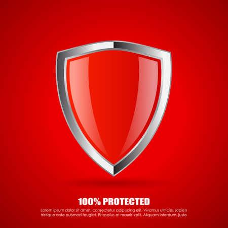 shield: Icono de protecci�n Blindaje rojo Vectores