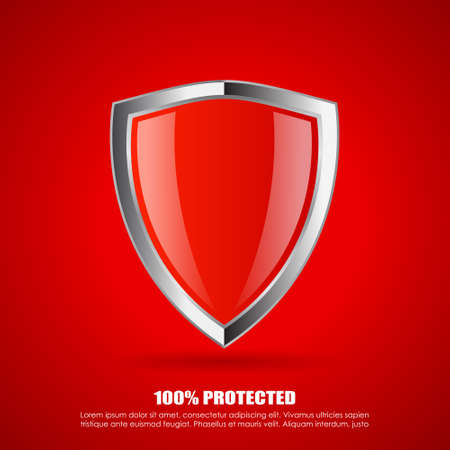 security icon: Red shield protection icon