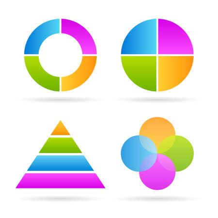 Cuatro piezas de diagramas
