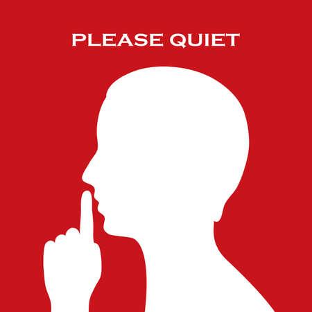 keep silent: Per favore Accedi tranquilla Vettoriali