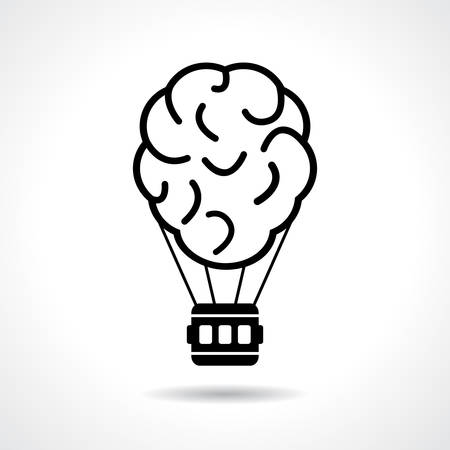 thinking balloon: Brain idea icon, flight of fancy