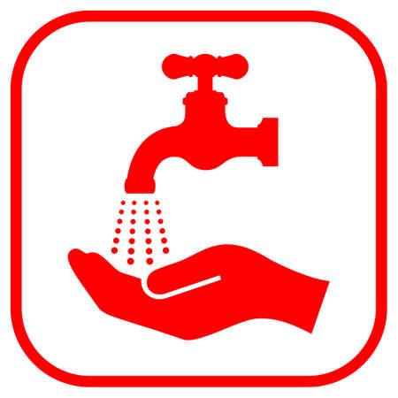 llave agua: L�vese la muestra de la mano Vectores