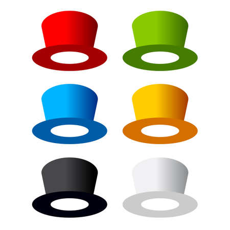 red hat: Six color hats Illustration