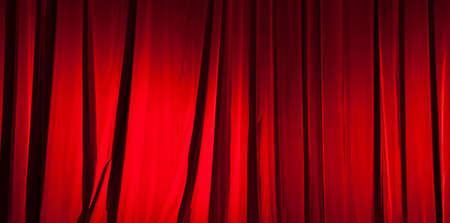 sipario chiuso: Red curtain bandiera Archivio Fotografico