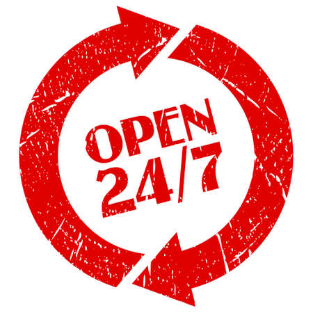 shop opening hours: Open 24 hour stamp
