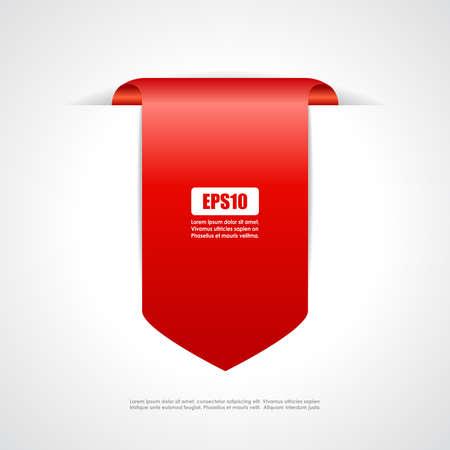 赤タグ リボン  イラスト・ベクター素材