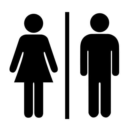 man and banner: Man and woman pictogram